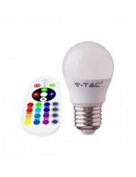 LED izzó G45, E27, RGB 4000K, távirányítóval, 3,5 W (30 W), 320 lm, A, V-TAC