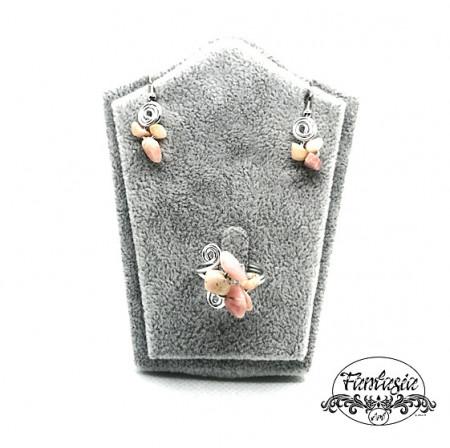 Set bijuterii Cuarț roz chips