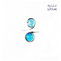 Inel reglabil Agate crackle blue