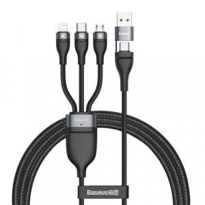 Cablu Baseus 3in1 Typ C - USB Type C / Lightning / micro USB 1,2 m negru