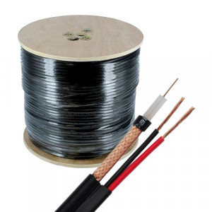 Cablu coaxial RG59 + alimentare 2x0.75, 305m, negru TSY-RG59+2X0.75-B