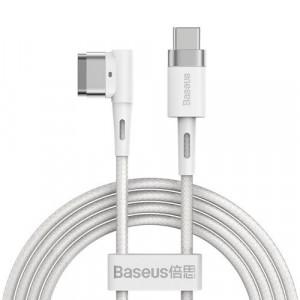 Cablu de date - alimentare magnetic unghiular zincat Baseus pentru MacBook Power - USB tip C 60W 2m alb
