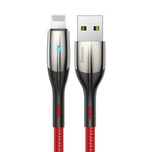 Cablu lightning orizontal Baseus cu lampă LED 2m 1,5A (roșu)