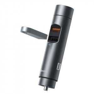 Modulator FM MP3 bluetooth cu incarcator Baseus Energy Column Negru-Gri