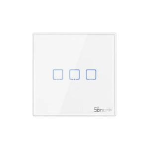 Buton Sonoff T2EU3C-RF 3 canale 433MHz Telecomandă RF alb