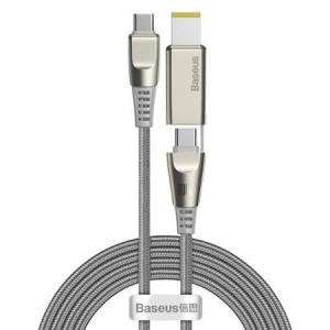 Cablu de date Baseus Flash Series cu cap pătrat Lenovo Tip-C până la C + DC 100W 2m Gri