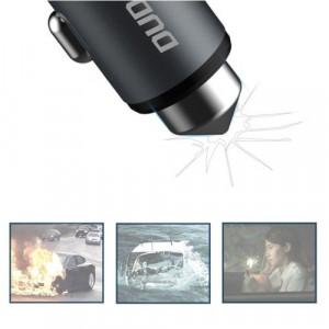 Încărcător auto universal cu ciocan de spart parbriz Dudao 2x USB 3.1A gri
