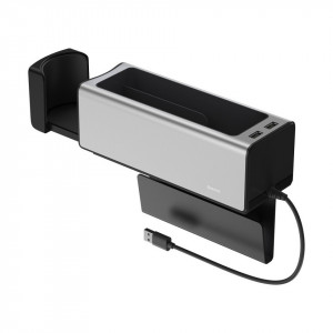 Organizator auto cu 2 porturi USB si suport pahar Baseus (CRCWH-A0S) gri