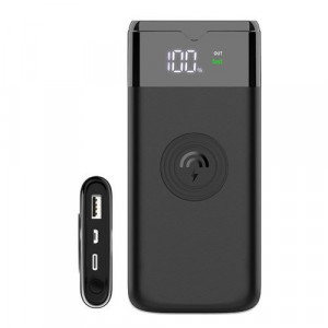 Power bank Dudao 10000 mAh Quick Charge 3.0 Qi încărcător wireless 10 W negru