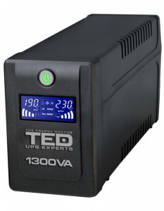 UPS TED Electric 1300VA / 750W Line Interactive cu 4 iesiri schuko si display LCD TED-1300