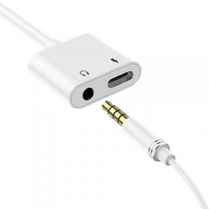 Adaptor pentru căști audio/încărcare Dudao USB Type C - USB Type C / 3,5 mm mini jack albă