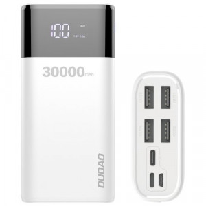 Power Bank DUDAO 4x USB 30000mAh cu afișaj 4A alb