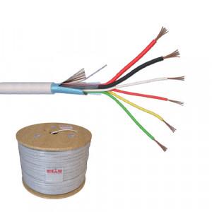 Cablu de alarma 6 fire ecranate + alimentare 2x0.75, cupru integral, 500m 6CUEF+2x0.75-T