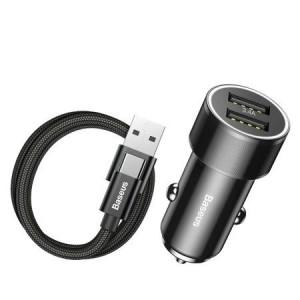 Incarcator auto Baseus + Cablu USB-C cu șurub mic 2xUSB 3.4A