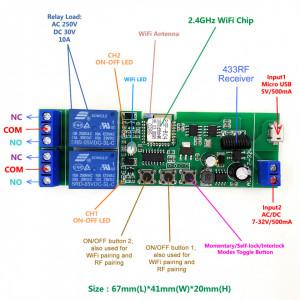 Releu/Comutator Wi-Fi + RF 433 Mhz 2 canale 5V-32V, compatibil Sonoff