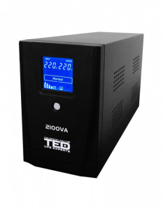 UPS TED Electric 2100VA / 1200W Line Interactive cu 2 iesiri schuko si display LCD TED-2100