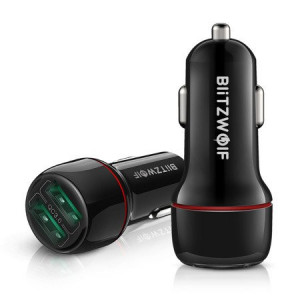 Blitzwolf BW-SD5 Dual USB încărcător auto 25W QC3.0 (negru)