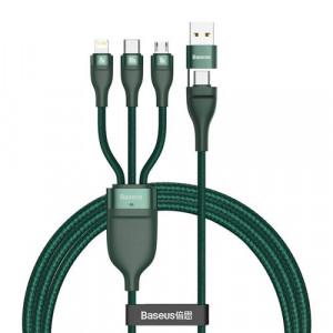 Cablu Baseus 3in1 Typ C - USB Type C / Lightning / micro USB 1,2 m verde