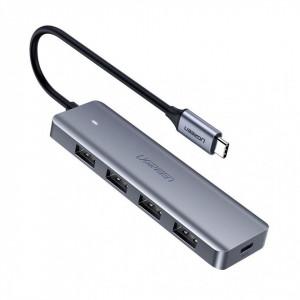 Hub Type C + micro USB pentru putere extra UGREEN USB 3.0 4 porturi gri
