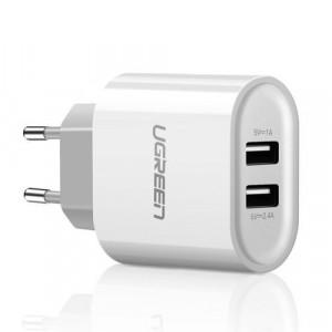 Încarcator de perete Ugreen 2x USB 3,4 A alb