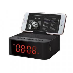 Ceas cu alarmă suport telefon cititor de card micro SD Radio FM negru