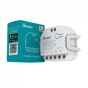 Comutator inteligent de releu WiFi Sonoff Dual (R3) cu 2 canale și contor de energie