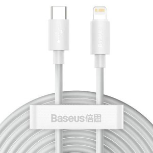 Kit cablu de date Simple Wisdom USB-C la Lightning PD 20W (2 buc / set) 1,5 m alb
