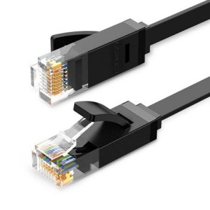 Cablu de rețea plat UGREEN Ethernet RJ45, Cat.6, UTP, 15m (negru)