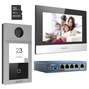 KIT videointerfon pentru o familie, Wi-Fi 2.4Ghz, monitor 7 inch - HIKVISION DS-KIS604-S