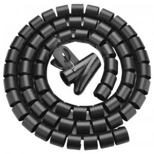 Tubular spiralat pentru organizare cabluri 1,5m - negru