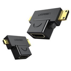 Adaptor UGREEN micro HDMI și mini HDMI la HDMI (negru)