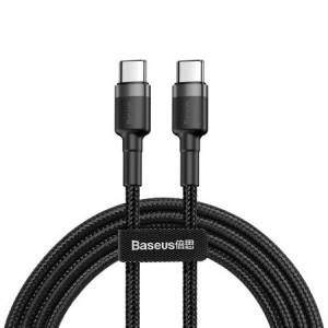 Cablu de date, incarcare Baseus Cafule USB-C PD 2.0 QC 3.0 60W 1m (negru + gri)