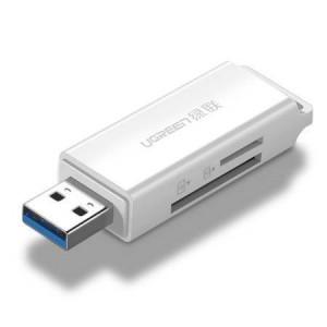 Cititor de carduri de memorie UGREEN CM104 SD / microSD USB 3.0 (alb)