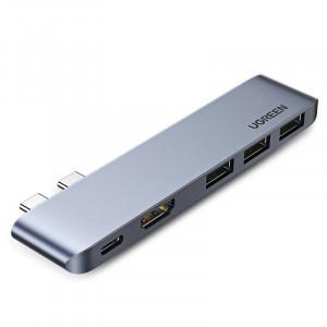 HUB multifunctional UGREEN 2x USB Typ C - USB Typ C PD (Thunderbolt 3 100W 4K@60 Hz 10 Gbps) / HDMI 4K@30 Hz / 3x USB 3.0 pentru MacBook Pro / Air gray (60559)