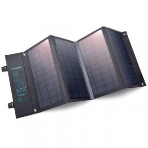 Încărcător solar pliabil Choetech 36W incărcare rapidă USB / USB tip C gri