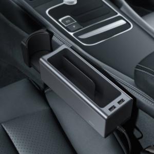 Organizator auto cu 2 porturi USB si suport pahar Baseus Negru