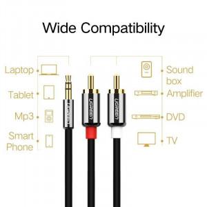 Cablu jack de 3 5 mm la 2RCA UGREEN 1m