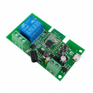 Comutator cu releu inteligent SmartWise 5V-32V, 1 canal, cu contact uscat și comutator momentan, Zigbee + RF