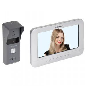 Kit videointerfon analogic 7'', camera Pinhole, conectare 4 fire - HIKVISION
