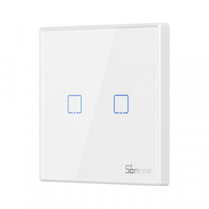 Buton Sonoff T2EU2C-RF 2 canale 433MHz Telecomandă RF alb
