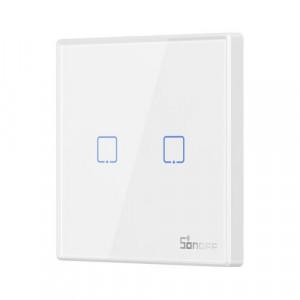 Buton Sonoff T2EU2C-RF Wi-Fi 2 canale 433MHz Telecomandă RF alb