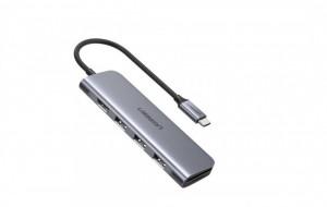 Hub 5 in 1 UGREEN USB-C la 3 porturi USB3.0-A + HDMI + TF / SD (gri)