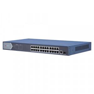 Switch 24 porturi PoE 1000Mbps, 1xRJ45 + 1xSFP Gigabit uplink - HIKVISION DS-3E0526P-E