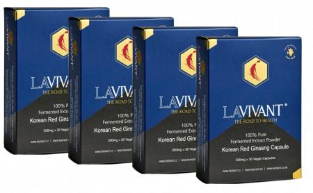 Set 4 cutii Capsule Ginseng Rosu Korean Royal Gold - LaVivant - extract pur 100% Super Concentrat Fermentat 130mg/g ginsenozide - capsule