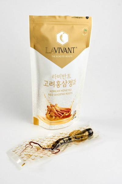 Radacini de Ginseng Rosu Coreean LaVivant cu miere - 150g (30g x 5 radacini)