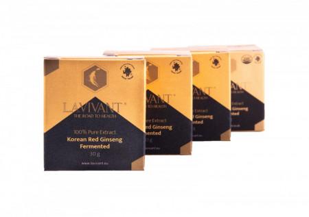 Set 4 cutii ROYAL GOLD Extract de Ginseng Rosu Korean Fermentat, 110mg/g ginsenozide - LaVivant - extract pur 100% Super Concentrat, 30g