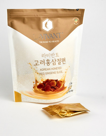 Felii de Ginseng Rosu Coreean LaVivant cu miere - 200g (20g x 10 pachete)