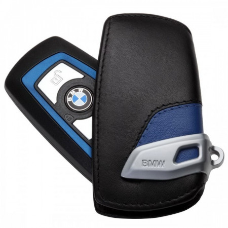 Husa protectie cheie originala BMW - M Sport Line - piele neagra / albastra