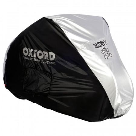 Husa Bicicleta Oxford Aquatex, pentru 2 Biciclete, Negru/Argintiu