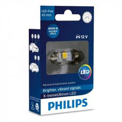 Bec auto LED auxiliar Festoon Philips T10 X-treme Vision, 12V, 1W, 6000k, 5 x 43, 1 Bec